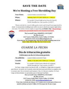 Free Shredding Day (Dia de trituracion gratuito) @ St. Leander School (right across from church)